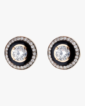 Selim Mouzannar Black Enamel & Diamond Earrings 1
