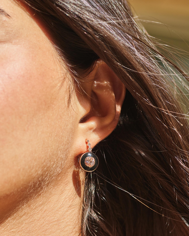 Selim Mouzannar Enamel, Diamond and Morganite Earrings 1