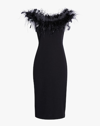 Feather Neckline Cocktail Dress