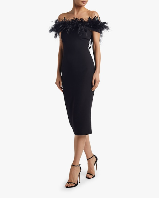 Badgley Mischka Feather Neckline Cocktail Dress 1