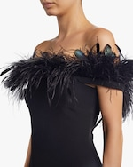 Badgley Mischka Feather Neckline Cocktail Dress 3