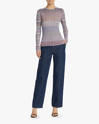 Skinny Mini Rib Gumdrop Stripe Crewneck Top