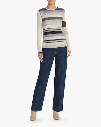Cassata Stripe Multi Rib Pullover Sweater