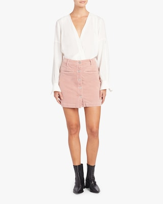 Luxe Vintage Button Front Skirt