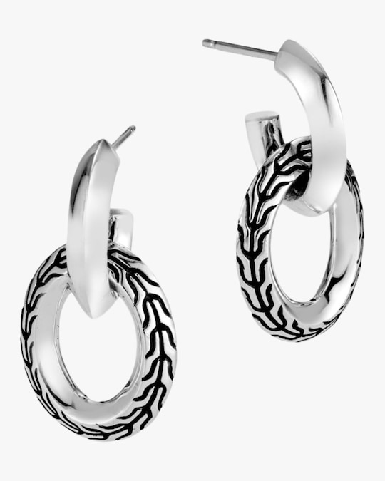 John Hardy Classic Chain Knife Edge Door Knocker Earrings 0