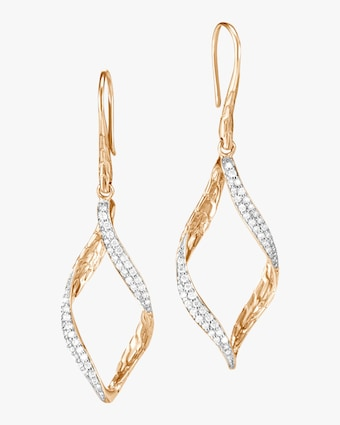 Classic Chain Wave Diamond Drop Earrings