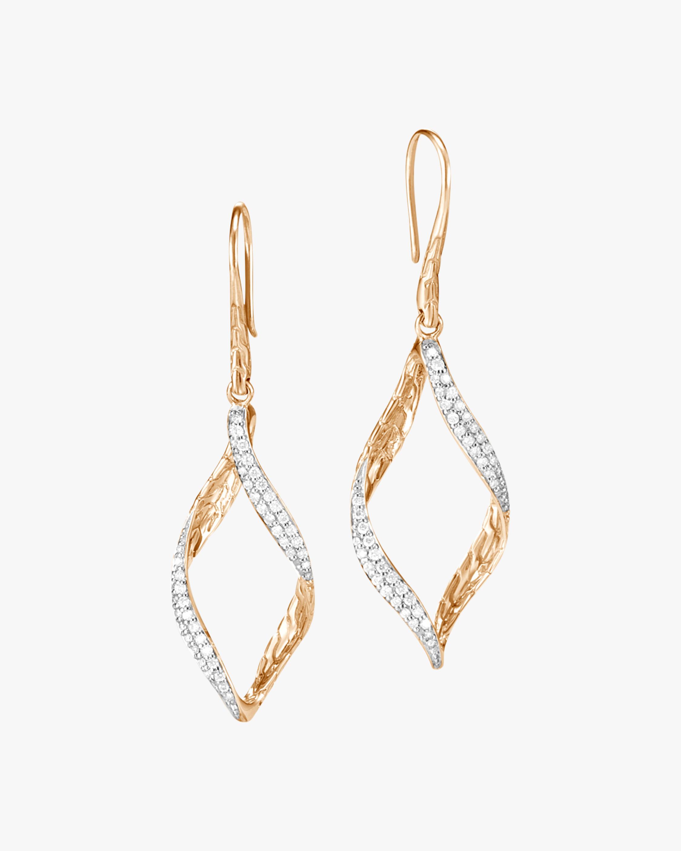 Classic Chain Wave Diamond Drop Earrings