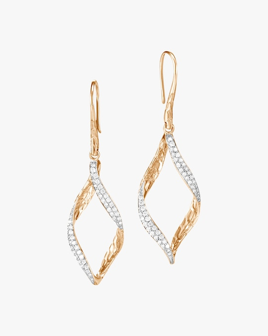 John Hardy Classic Chain Wave Diamond Drop Earrings 0
