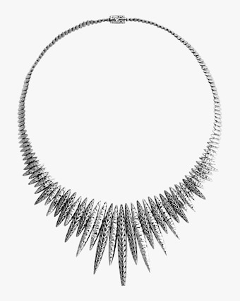 Classic Chain Spear Hammered Bib Necklace