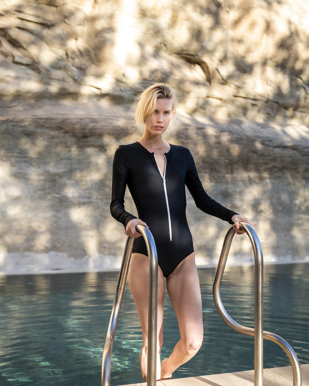 Long Sleeve Zip-Front Swimsuit