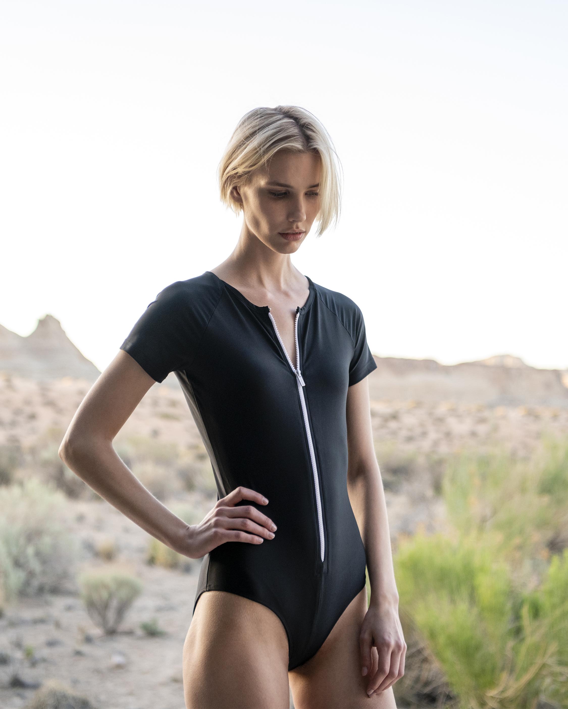 Short Sleeve Zip-Front One Piece Swimsuit