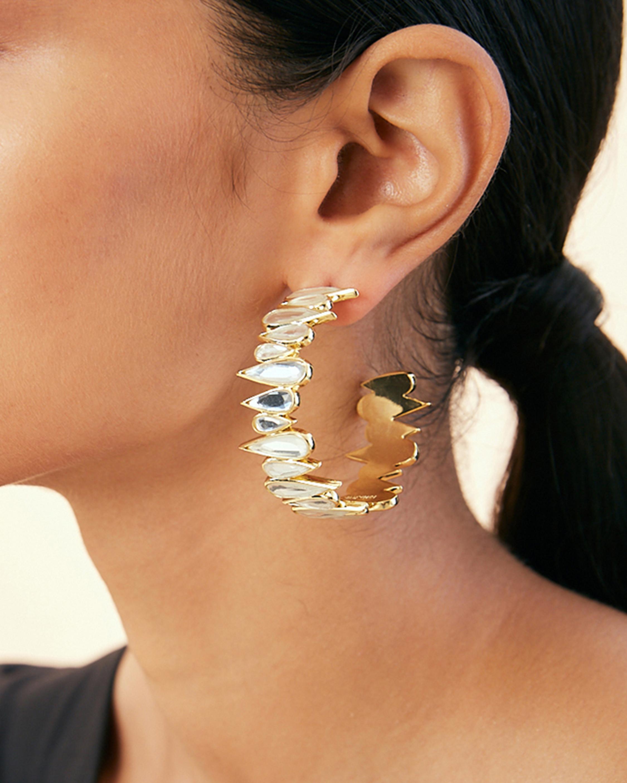 Demi Goddess Mirror Shard Hoop Earrings