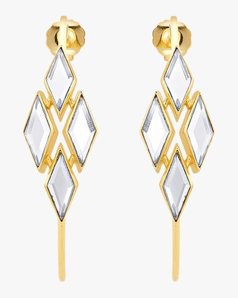 Demi Goddess Rhombus Mirror Hoop Earrings