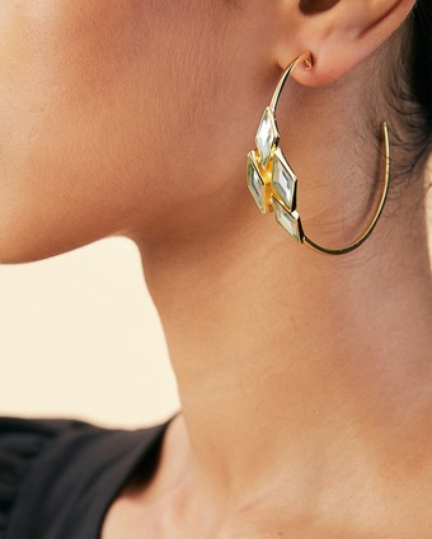Isharya Demi Goddess Rhombus Mirror Hoop Earrings 2