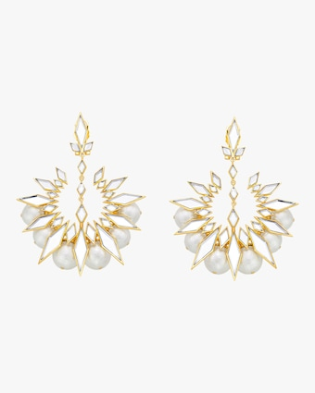 Demi Goddess Rhombus Mirror and Pearl Chandbali Earrings