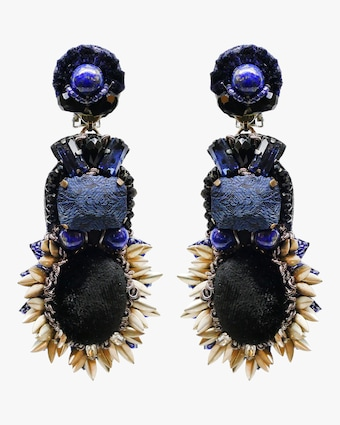 Beaded Velvet Clip-On Earrings