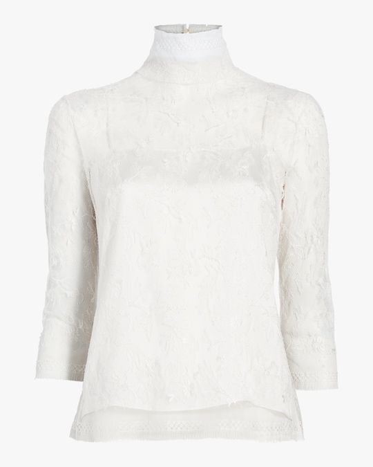 Adam Lippes Chantilly Lace Turtleneck & Cami Set 0