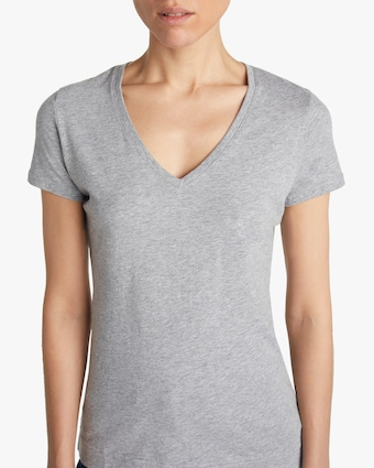 Adam Lippes Short-Sleeve V-Neck Shirt 2