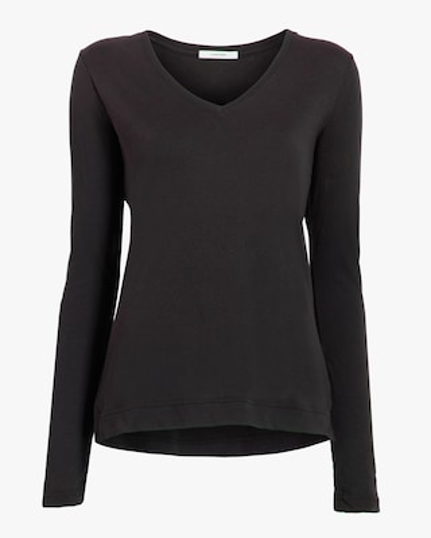 Adam Lippes Long-Sleeve V-Neck Shirt 1