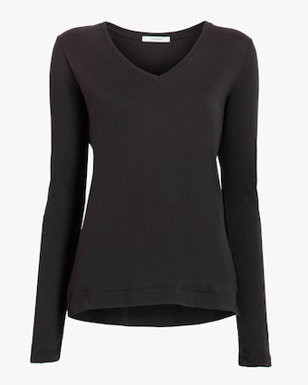 Adam Lippes Long-Sleeve V-Neck Shirt 1