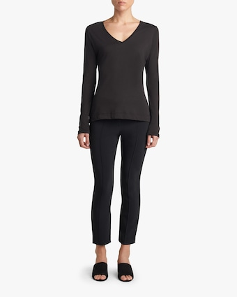 Adam Lippes Long-Sleeve V-Neck Shirt 2