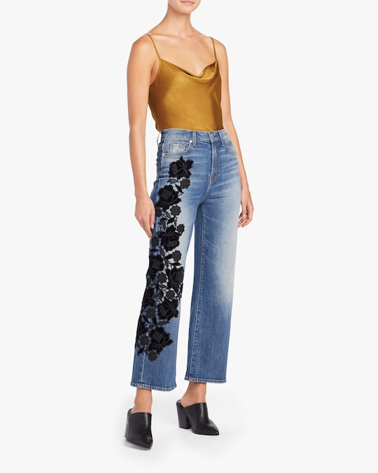 7 For All Mankind Alexa Lace Cropped Jeans 1