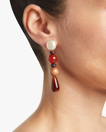 Blood Orange Pearl Drop Earrings