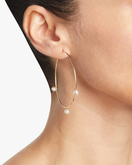 NST Studio Large Pearl Hoop Earrings 1