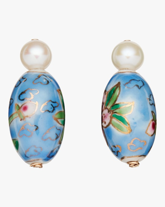 NST Studio Porcelain Pearl Post Earrings 0