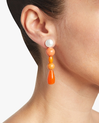 Tangerine Pearl Drop Earrings