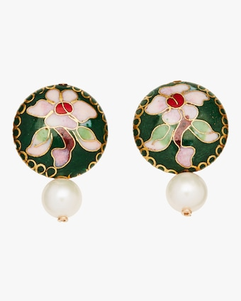 Cloisonné Coin and Pearl Earrings