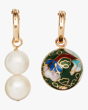 Cloisonné and Double Pearl Hoop Earrings