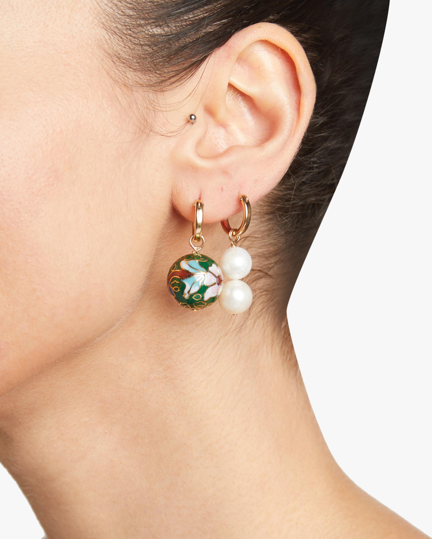 NST Studio Cloisonné and Double Pearl Hoop Earrings 1