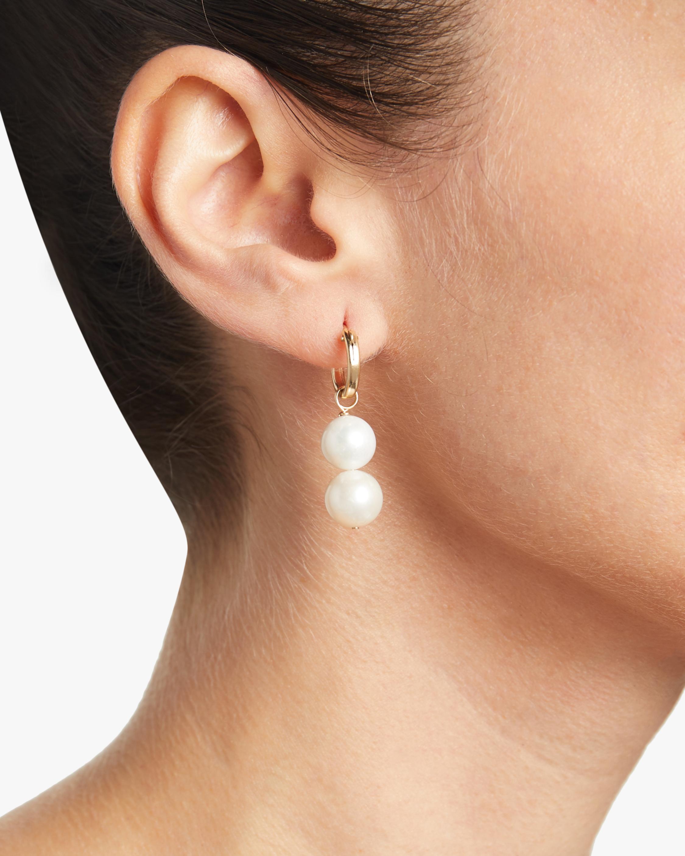 NST Studio Cloisonné and Double Pearl Hoop Earrings 2