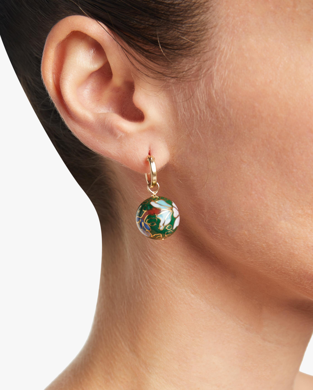 NST Studio Cloisonné and Double Pearl Hoop Earrings 3