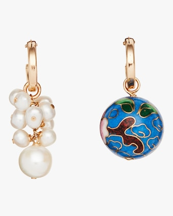 NST Studio Cloisonné and Grapevine Pearl Hoop Earrings 1
