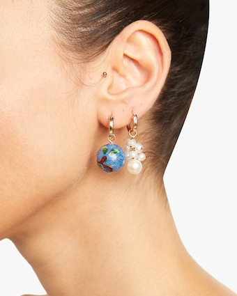 Cloisonné and Grapevine Pearl Hoop Earrings