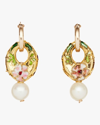 NST Studio Cloisonné and Pearl Hoop Earrings 1