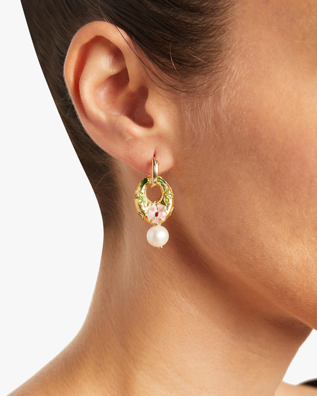 NST Studio Cloisonné and Pearl Hoop Earrings 1