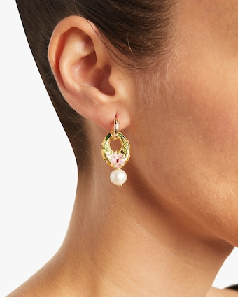 NST Studio Cloisonné and Pearl Hoop Earrings 2