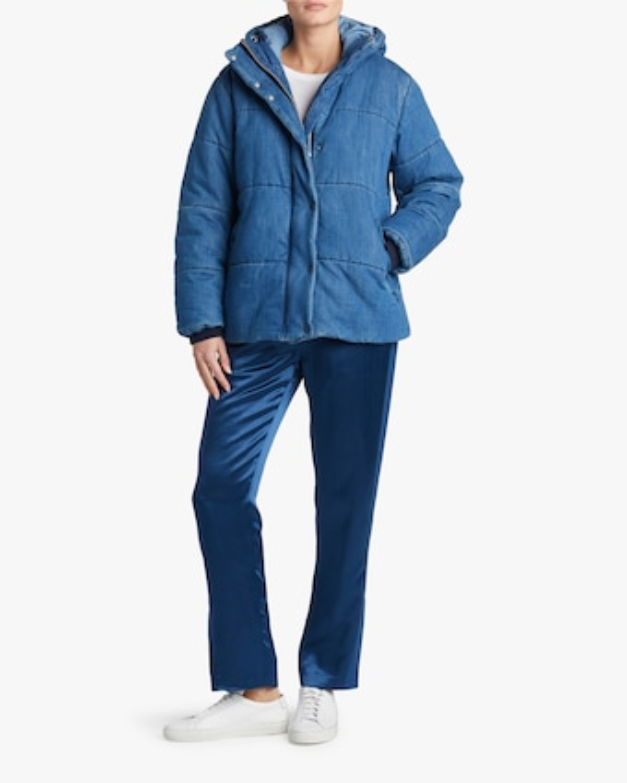 Denim Puffer Coat