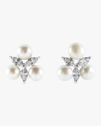 Monarch Starburst Pearl Cluster Stud Earrings