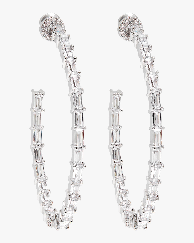 Fallon Crystal Baguette Hoop Earrings 0