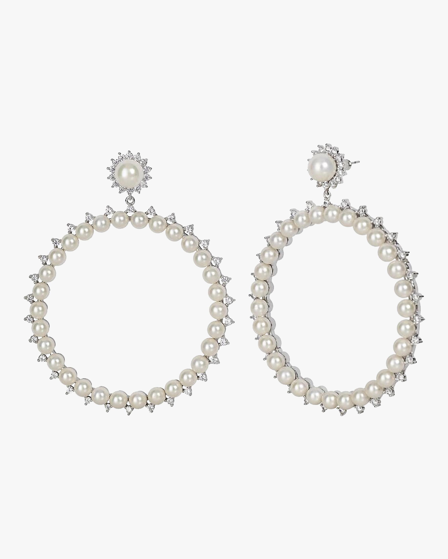 Pearl Drama Hoop Earrings