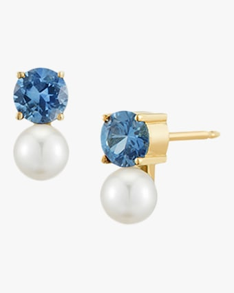 Blue Sapphire and Pearl Stud Earrings