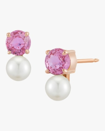 Pink Sapphire and Pearl Stud Earrings