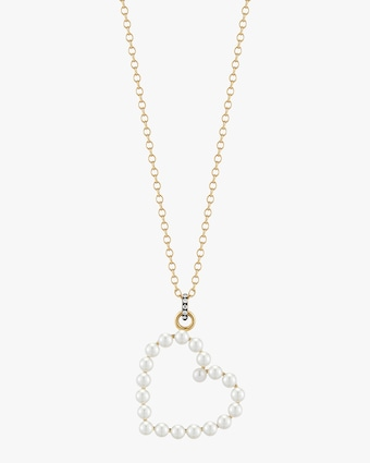 Pearl and Diamond Heart Pendant Necklace