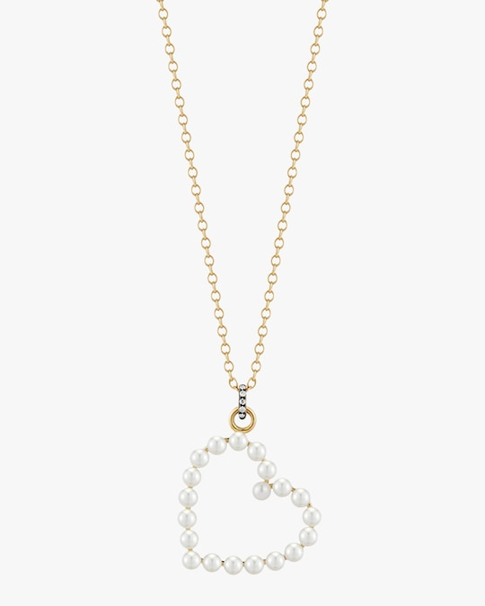 Jemma Wynne Pearl and Diamond Heart Pendant Necklace 0