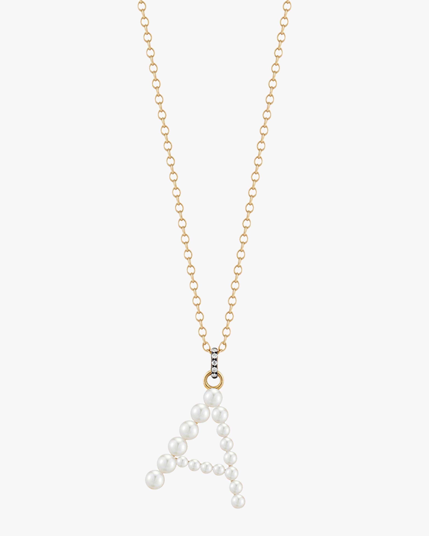 Pearl & Diamond Initial Pendant Necklace