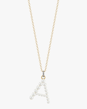 Pearl and Diamond Initial Pendant Necklace